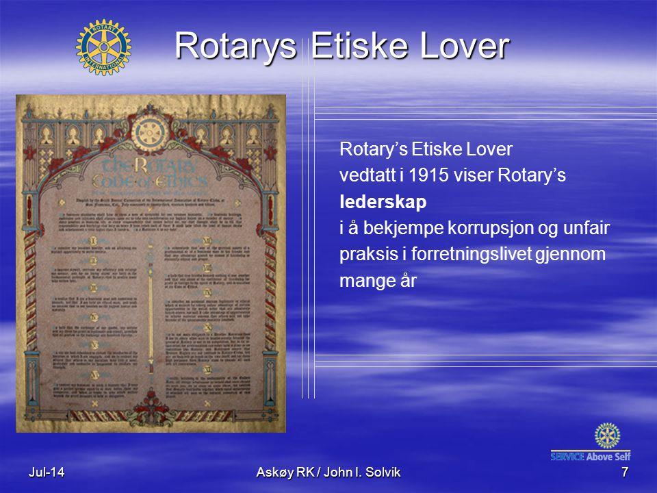 Jul-14Askøy RK / John I. Solvik7 Rotary's Etiske Lover vedtatt i 1915 viser Rotary's lederskap i å bekjempe korrupsjon og unfair praksis i forretnings