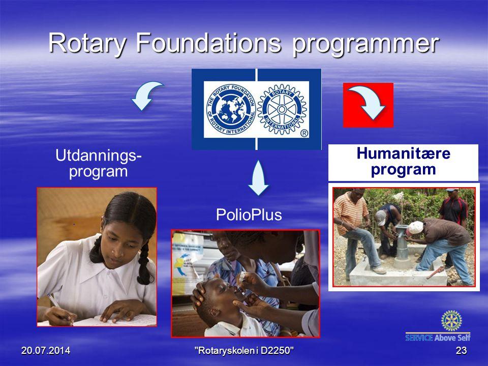 Rotary Foundations programmer Humanitære program Utdannings- program PolioPlus 20.07.2014 Rotaryskolen i D2250 23