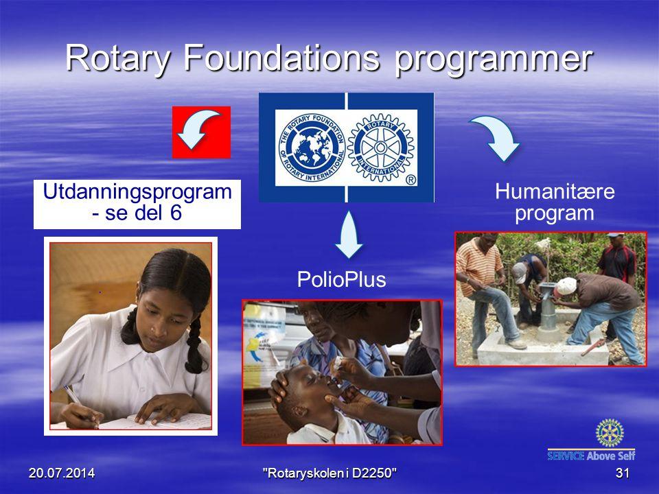 Rotary Foundations programmer Humanitære program Utdanningsprogram - se del 6 PolioPlus 20.07.2014 Rotaryskolen i D2250 31