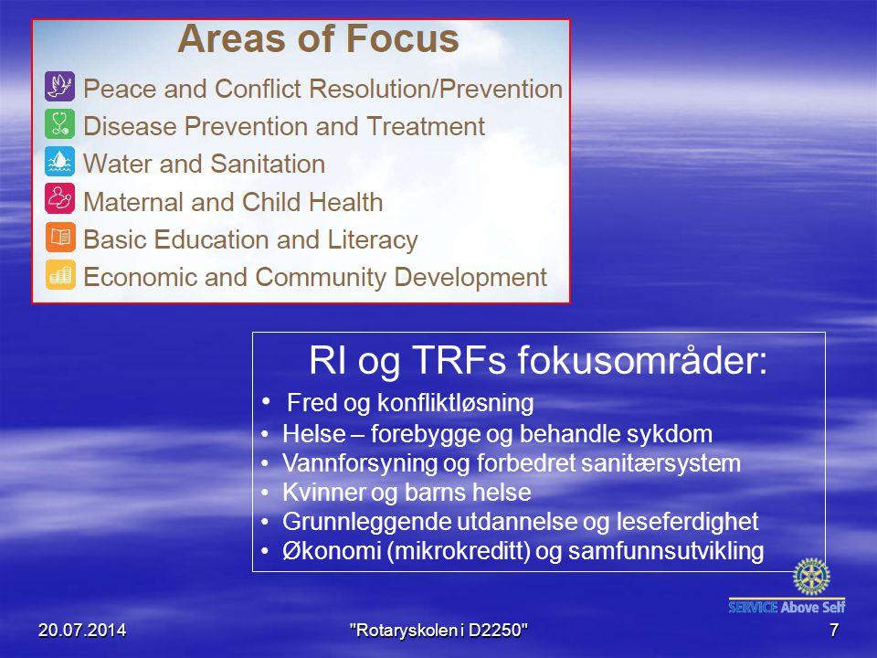 RI og TRFs fokusområder: Fred og konfliktløsning Helse – forebygge og behandle sykdom Vannforsyning og forbedret sanitærsystem Kvinner og barns helse Grunnleggende utdannelse og leseferdighet Økonomi (mikrokreditt) og samfunnsutvikling 20.07.2014 Rotaryskolen i D2250 7