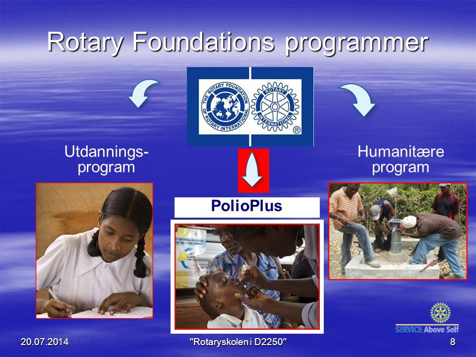 Rotary Foundations programmer Humanitære program Utdannings- program PolioPlus 20.07.2014 Rotaryskolen i D2250 8