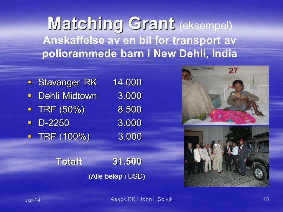 Matching Grant Matching Grant (eksempel) Anskaffelse av en bil for transport av poliorammede barn i New Dehli, India  Stavanger RK14.000  Dehli Midtown 3.000  TRF (50%) 8.500  D-2250 3.000  TRF (100%) 3.000  TRF (100%) 3.000 Totalt31.500 Jul-14 16 (Alle beløp i USD) Askøy RK / John I.