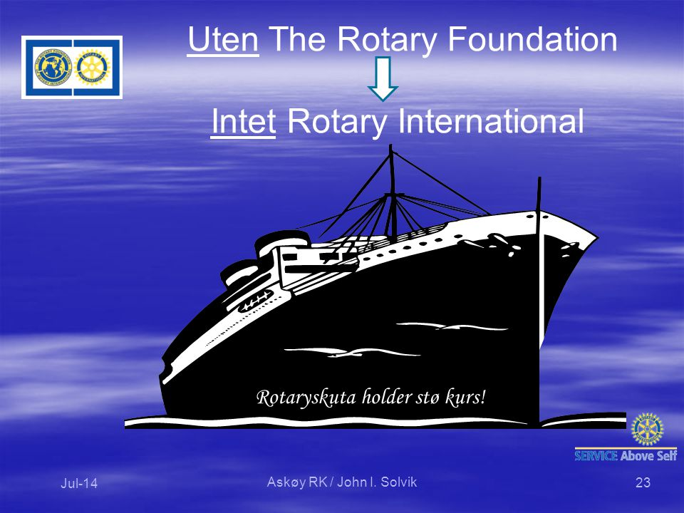Uten The Rotary Foundation Intet Rotary International Rotaryskuta holder stø kurs.
