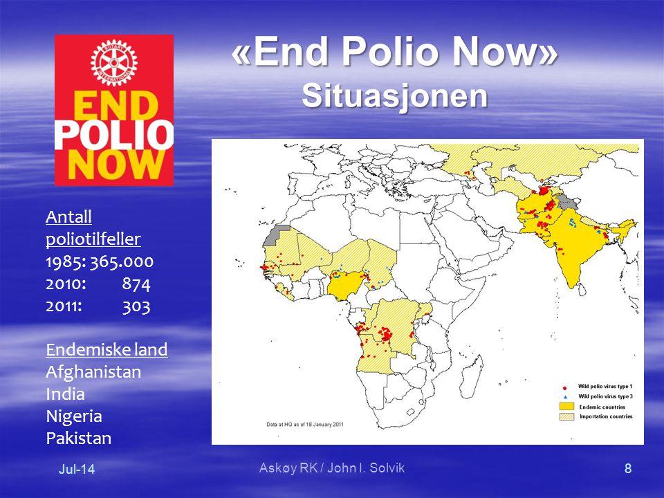 «End Polio Now» Situasjonen Antall poliotilfeller 1985: 365.000 2010: 874 2011: 303 Endemiske land Afghanistan India Nigeria Pakistan Jul-14 8 Askøy RK / John I.