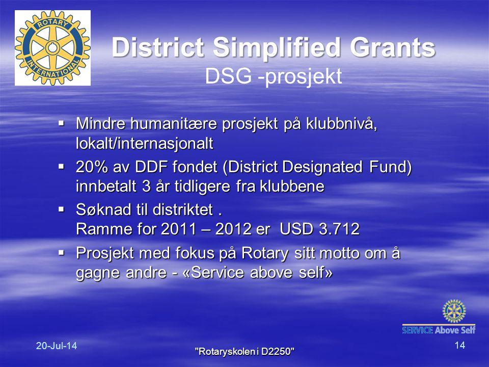  Mindre humanitære prosjekt på klubbnivå, lokalt/internasjonalt  20% av DDF fondet (District Designated Fund) innbetalt 3 år tidligere fra klubbene  Søknad til distriktet.
