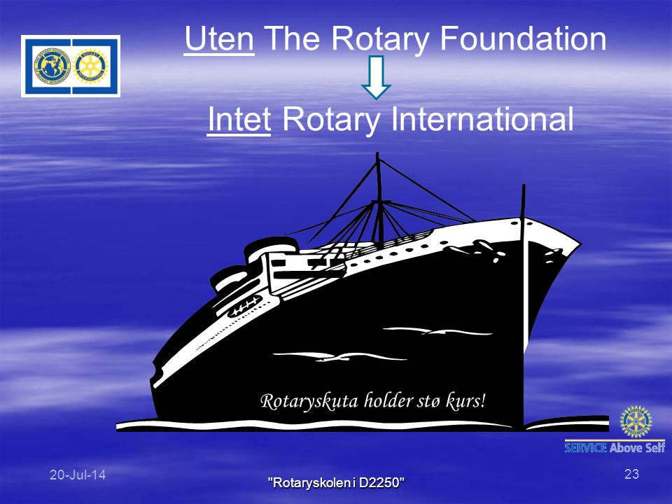 Uten The Rotary Foundation Intet Rotary International Rotaryskuta holder stø kurs! 20-Jul-14 23