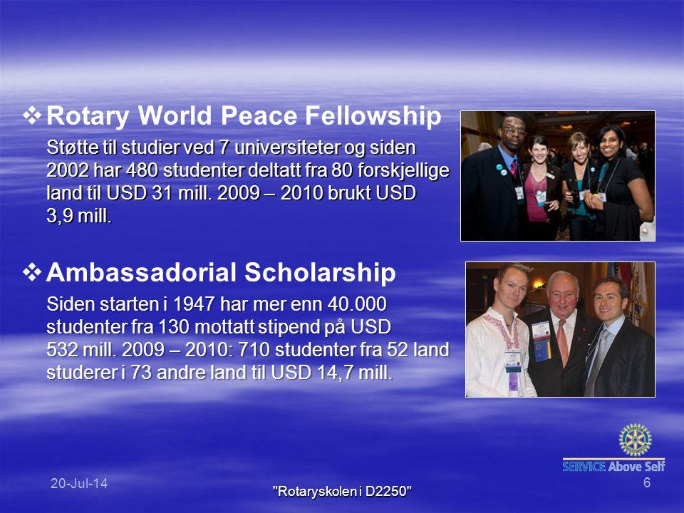   Rotary World Peace Fellowship Støtte til studier ved 7 universiteter og siden 2002 har 480 studenter deltatt fra 80 forskjellige land til USD 31 mill.