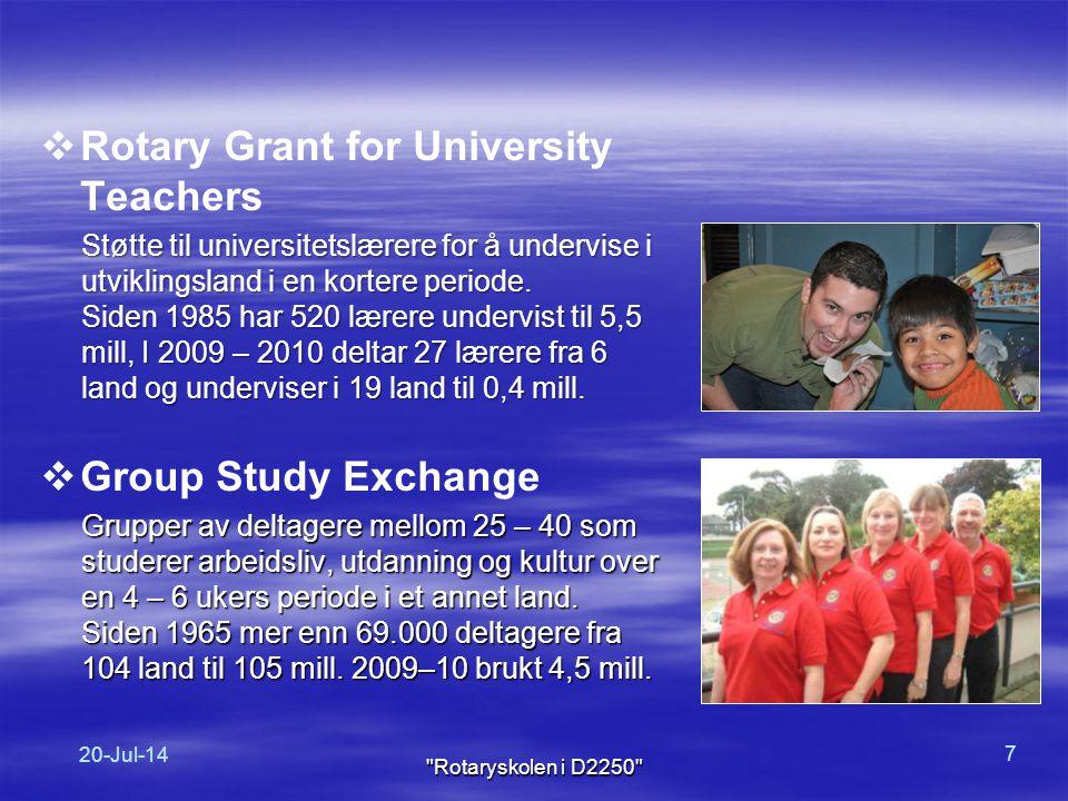  Rotary ber om 100 USD fra hver rotarianer hvert år  Rotarianere i vårt distrikt gir ca.