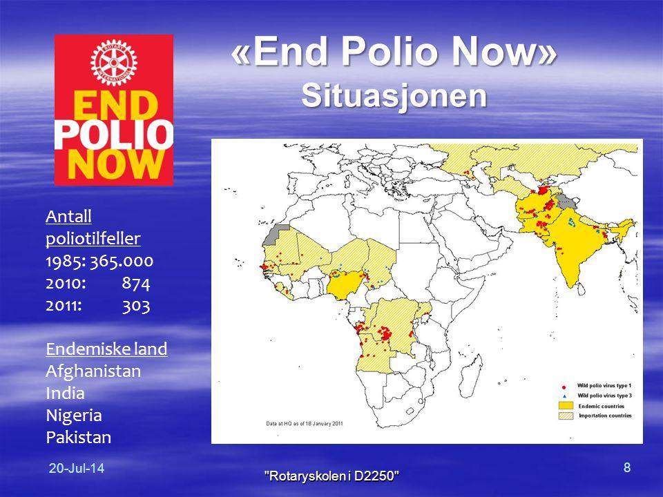 «End Polio Now» Situasjonen Antall poliotilfeller 1985: 365.000 2010: 874 2011: 303 Endemiske land Afghanistan India Nigeria Pakistan 20-Jul-14 8 Rotaryskolen i D2250