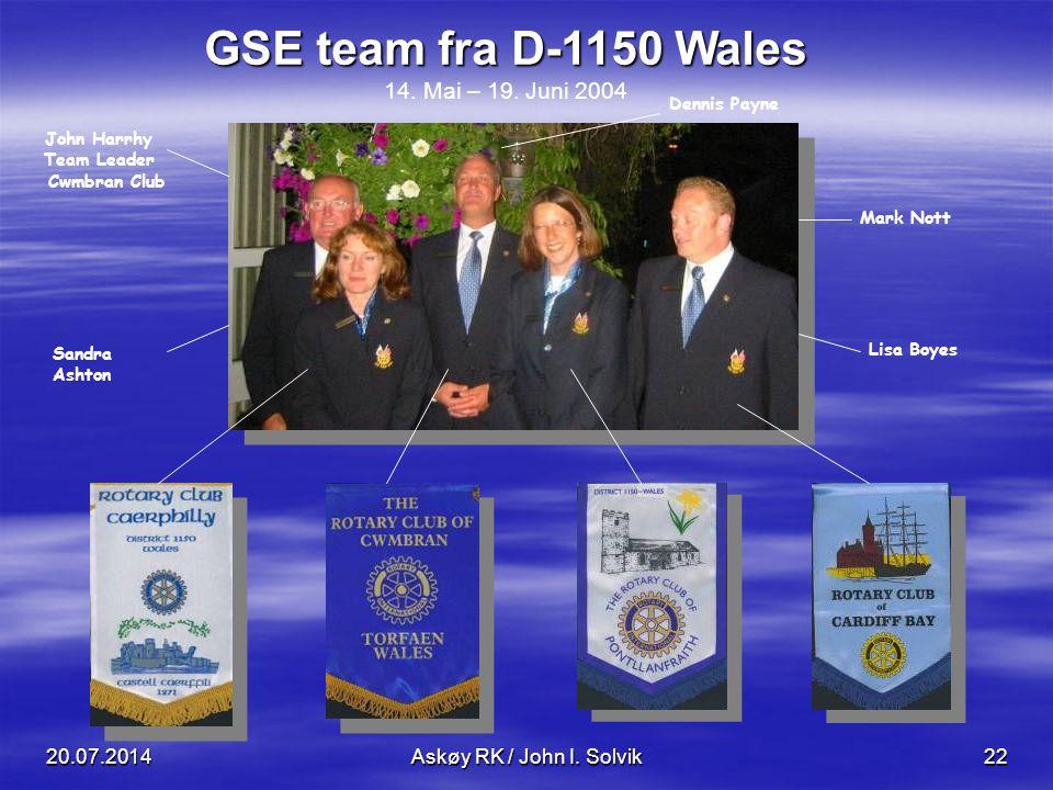 GSE team fra D-1150 Wales 14. Mai – 19. Juni 2004 John Harrhy Team Leader Cwmbran Club Sandra Ashton Dennis Payne Mark Nott Lisa Boyes 20.07.2014Askøy