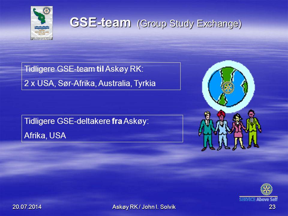 20.07.2014Askøy RK / John I. Solvik23 GSE-team (Group Study Exchange) Tidligere GSE-team til Askøy RK: 2 x USA, Sør-Afrika, Australia, Tyrkia Tidliger