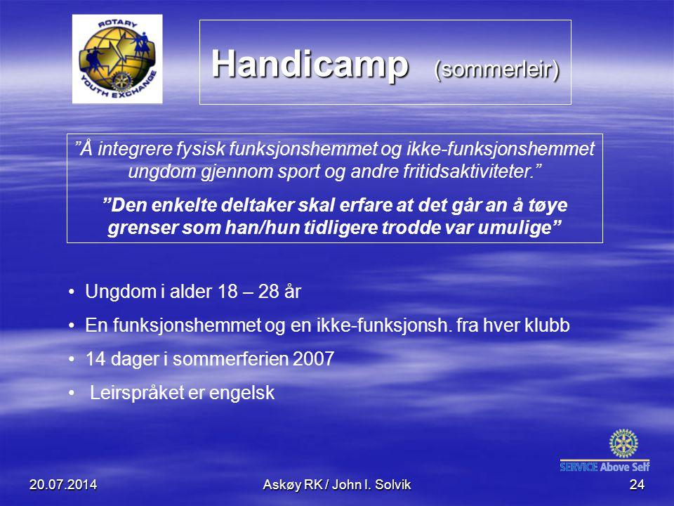 """Handicamp (sommerleir) 20.07.2014Askøy RK / John I. Solvik24 """"Å integrere fysisk funksjonshemmet og ikke-funksjonshemmet ungdom gjennom sport og andre"""