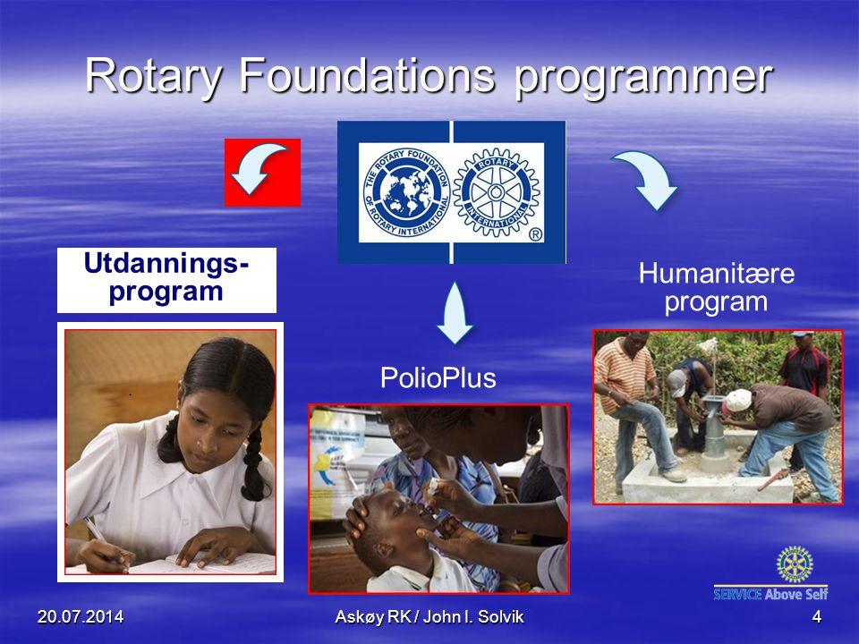 Rotary Foundations programmer Humanitære program Utdannings- program PolioPlus 20.07.2014Askøy RK / John I. Solvik4