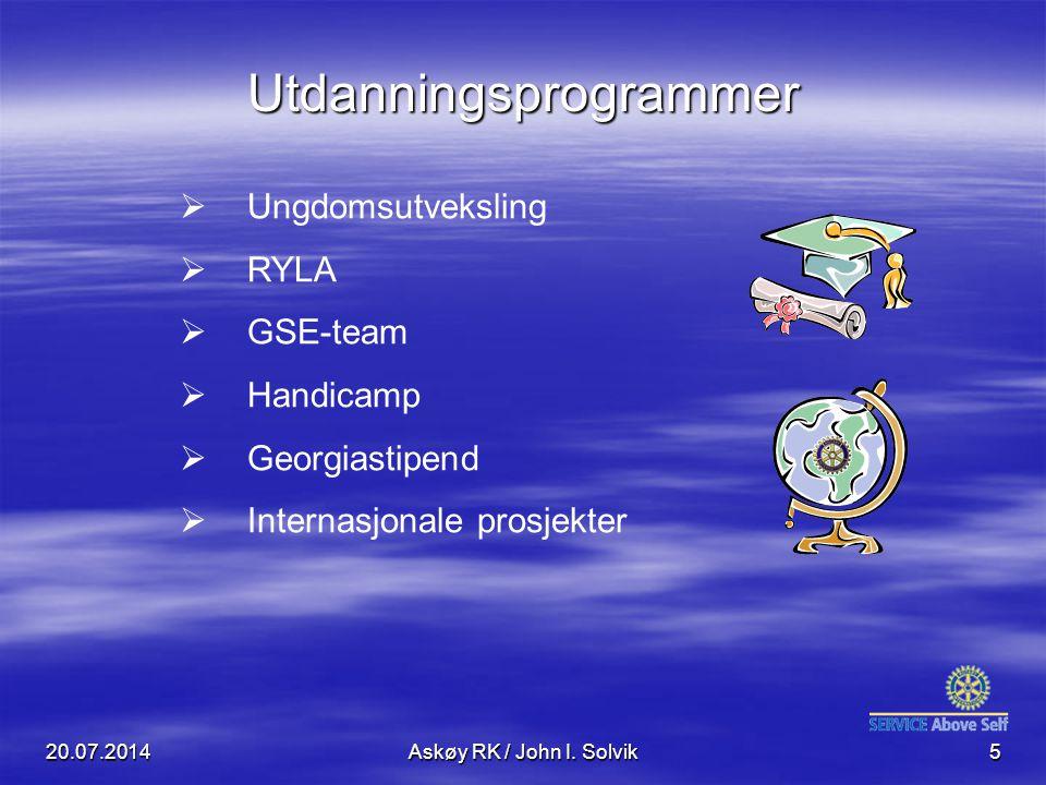 20.07.2014Askøy RK / John I. Solvik5  Ungdomsutveksling  RYLA  GSE-team  Handicamp  Georgiastipend  Internasjonale prosjekter Utdanningsprogramm