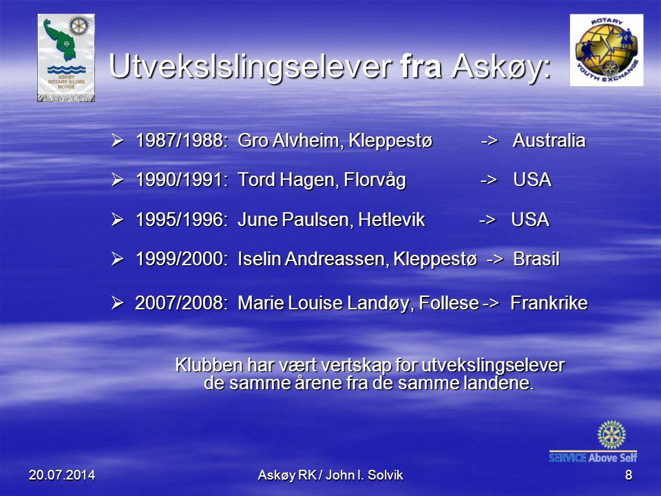 20.07.2014Askøy RK / John I. Solvik8  1987/1988: Gro Alvheim, Kleppestø -> Australia  1990/1991: Tord Hagen, Florvåg -> USA  1995/1996: June Paulse