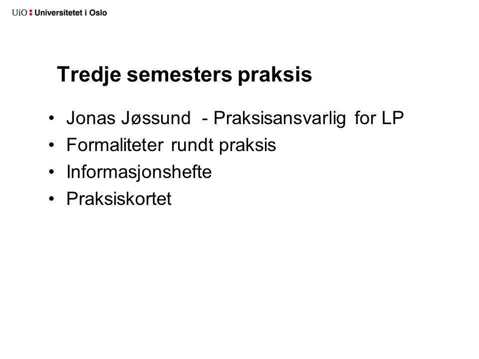 Tredje semesters praksis Jonas Jøssund - Praksisansvarlig for LP Formaliteter rundt praksis Informasjonshefte Praksiskortet