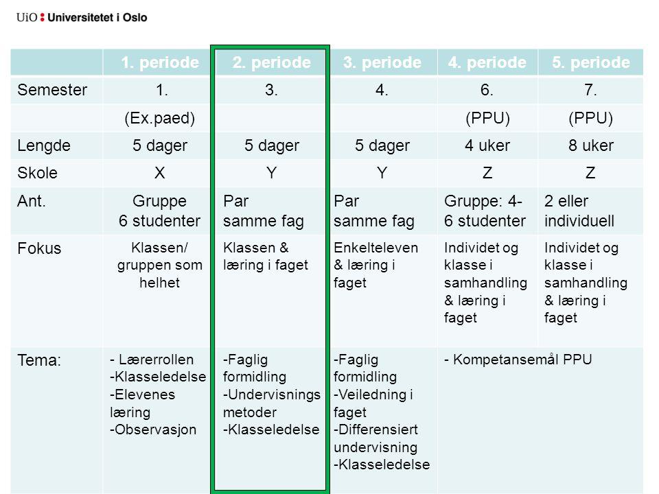 1. periode2. periode3. periode4. periode5. periode Semester 1.3.4.6.7. (Ex.paed)(PPU) Lengde5 dager 4 uker8 uker SkoleXYYZZ Ant.Gruppe 6 studenter Par