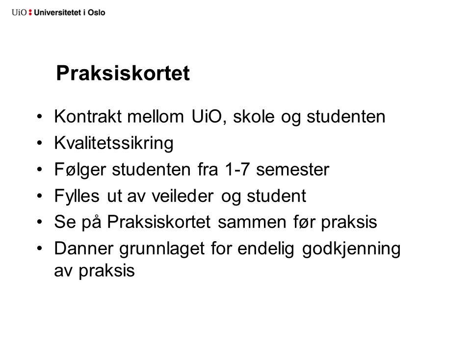Praksiskortet Kontrakt mellom UiO, skole og studenten Kvalitetssikring Følger studenten fra 1-7 semester Fylles ut av veileder og student Se på Praksi
