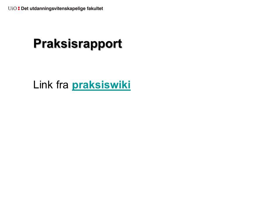 Praksisrapport Link fra praksiswikipraksiswiki