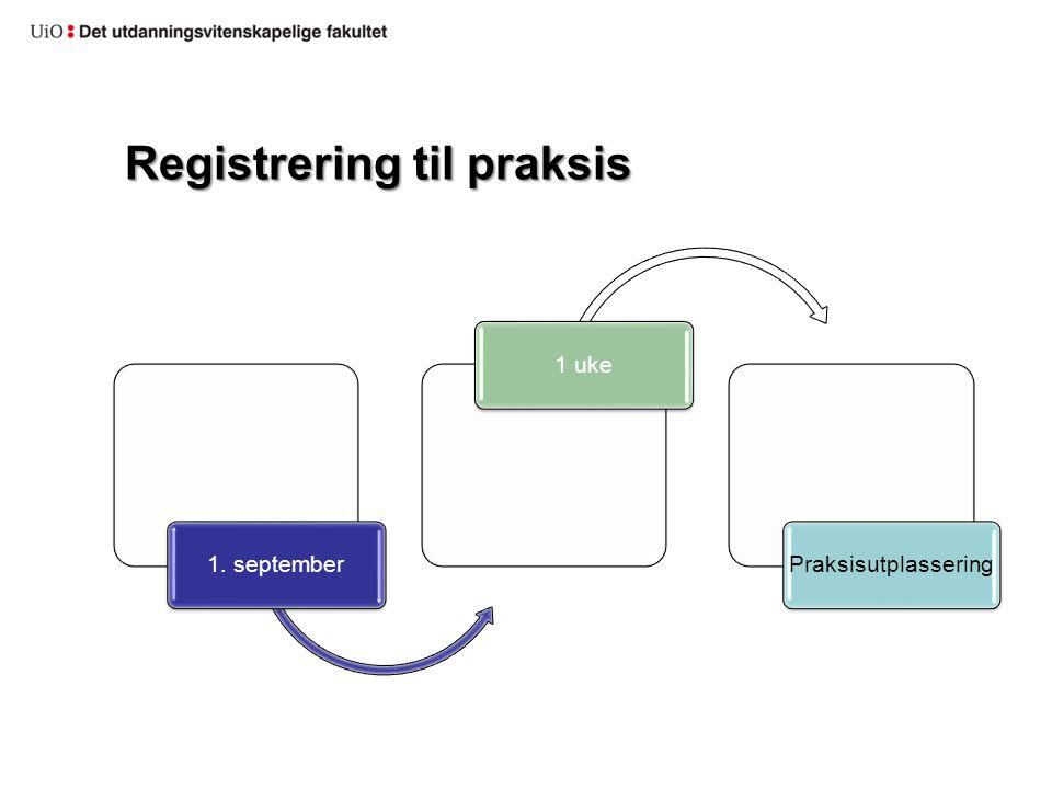 Registrering til praksis 1. september1 ukePraksisutplassering