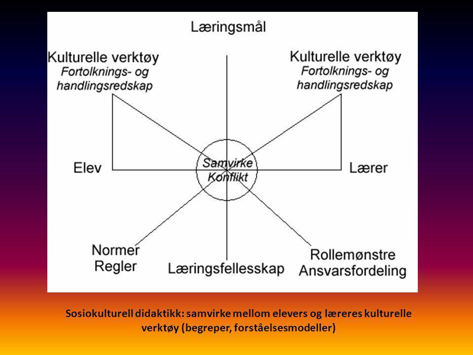 Sosiokulturell didaktikk: samvirke mellom elevers og læreres kulturelle verktøy (begreper, forståelsesmodeller)