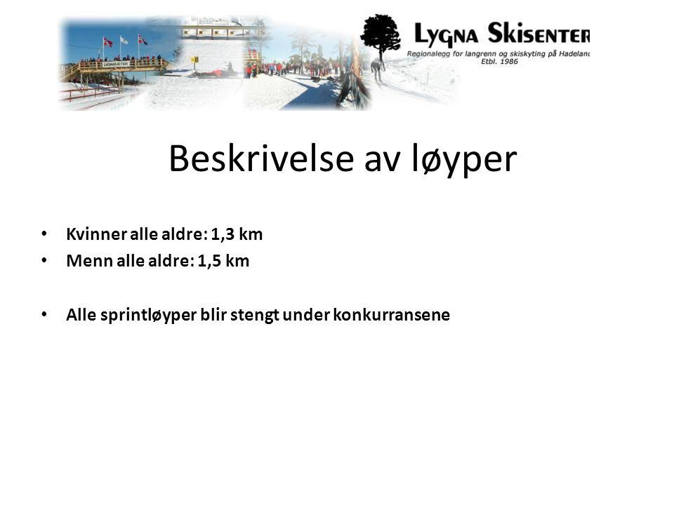 Beskrivelse av løyper Kvinner alle aldre: 1,3 km Menn alle aldre: 1,5 km Alle sprintløyper blir stengt under konkurransene