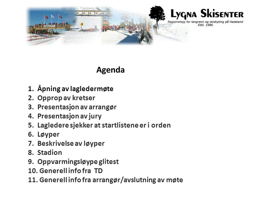 Agenda 1. Åpning av lagledermøte 2. Opprop av kretser 3.