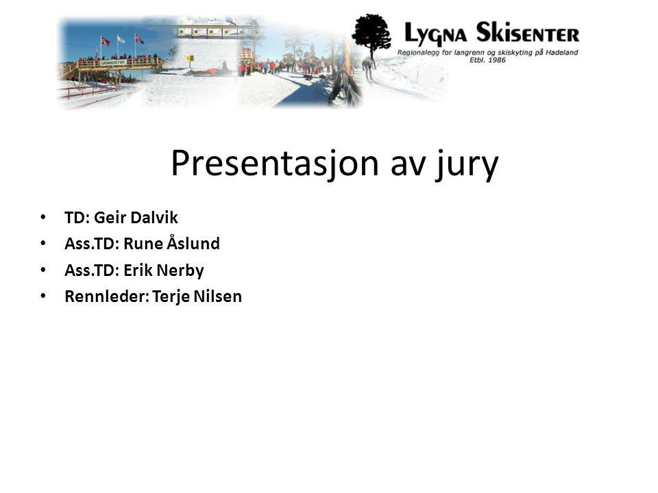 Presentasjon av jury TD: Geir Dalvik Ass.TD: Rune Åslund Ass.TD: Erik Nerby Rennleder: Terje Nilsen