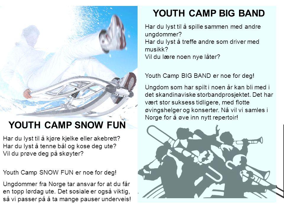YOUTH CAMP SNOW FUN Har du lyst til å kjøre kjelke eller akebrett? Har du lyst å tenne bål og kose deg ute? Vil du prøve deg på skøyter? Youth Camp SN