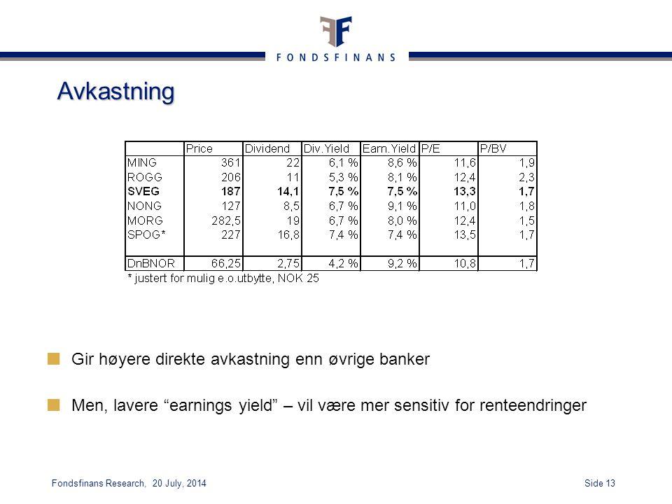 Side 13Fondsfinans Research, 20 July, 2014 Avkastning Gir høyere direkte avkastning enn øvrige banker Men, lavere earnings yield – vil være mer sensitiv for renteendringer