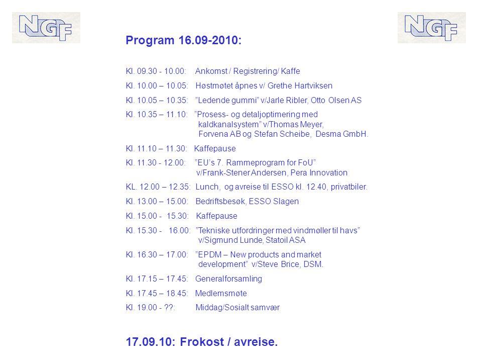 Program 16.09-2010: Kl. 09.30 - 10.00: Ankomst / Registrering/ Kaffe Kl.