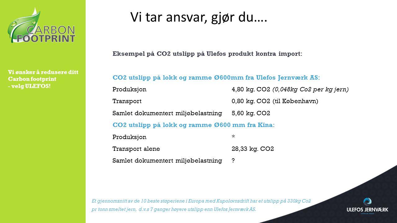 Vi tar ansvar, gjør du…. Eksempel på CO2 utslipp på Ulefos produkt kontra import: CO2 utslipp på lokk og ramme Ø600mm fra Ulefos Jernværk AS: Produksj