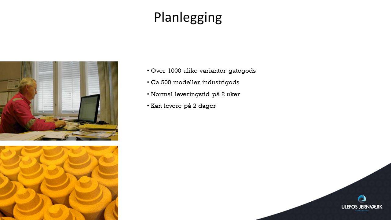 Planlegging Over 1000 ulike varianter gategods Ca 500 modeller industrigods Normal leveringstid på 2 uker Kan levere på 2 dager
