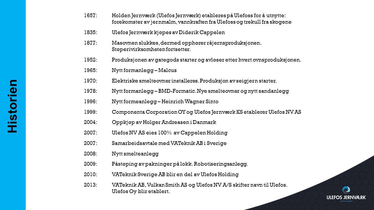 Historien 1657:Holden Jernværk (Ulefos Jernværk) etableres på Ulefoss for å utnytte: forekomster av jernmalm, vannkraften fra Ulefoss og trekull fra s
