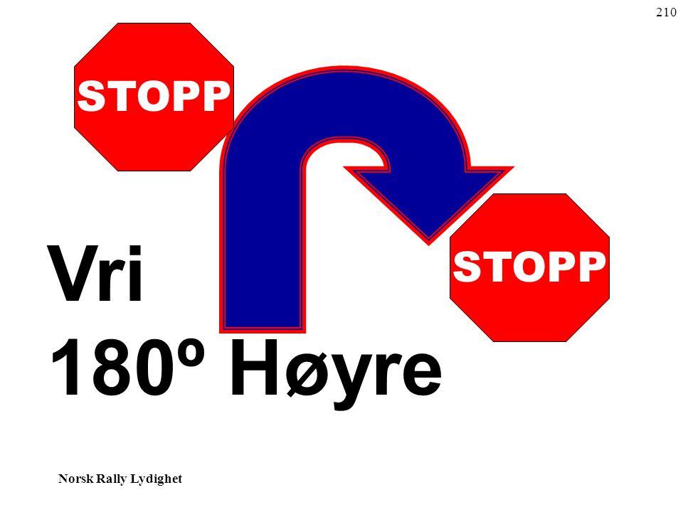 Norsk Rally Lydighet STOPP Vri 180º Høyre 210
