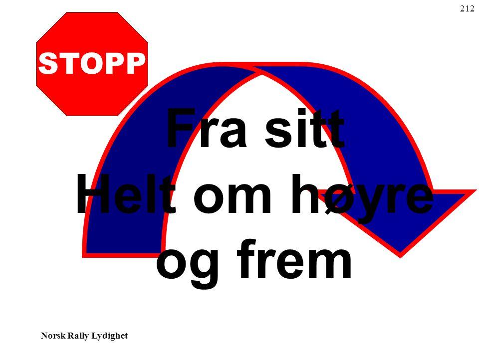 Norsk Rally Lydighet STOPP Fra sitt Helt om høyre og frem 212