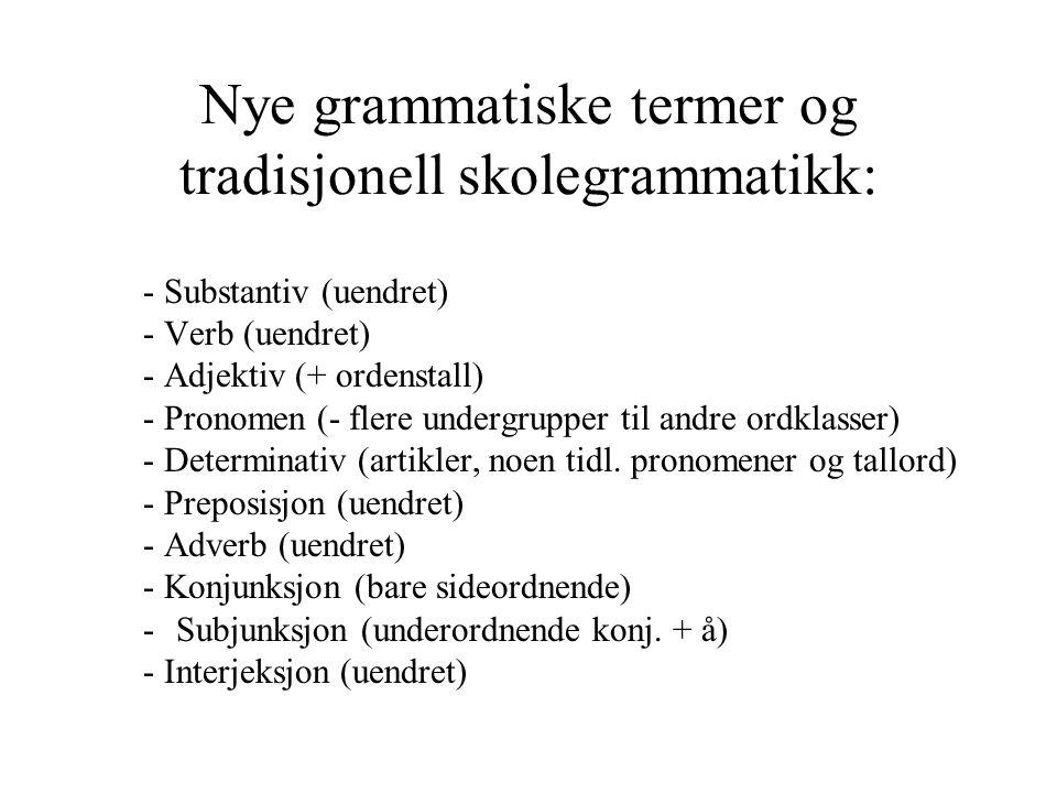 Nye grammatiske termer og tradisjonell skolegrammatikk: - Substantiv (uendret) - Verb (uendret) - Adjektiv (+ ordenstall) - Pronomen (- flere undergrupper til andre ordklasser) - Determinativ (artikler, noen tidl.