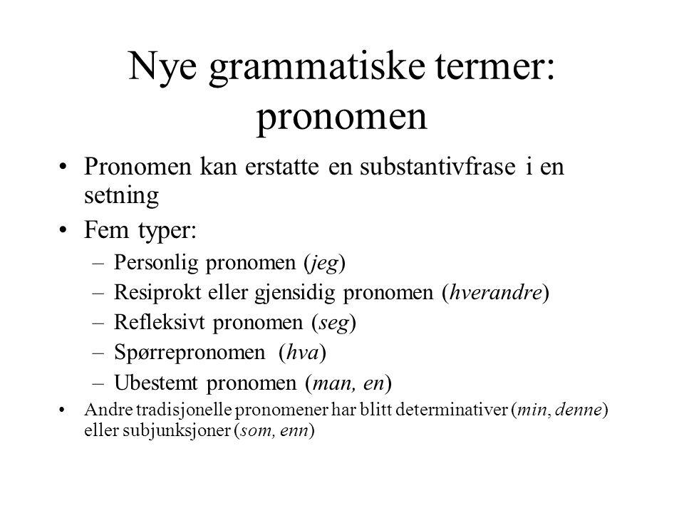 Nye grammatiske termer: pronomen Pronomen kan erstatte en substantivfrase i en setning Fem typer: –Personlig pronomen (jeg) –Resiprokt eller gjensidig pronomen (hverandre) –Refleksivt pronomen (seg) –Spørrepronomen (hva) –Ubestemt pronomen (man, en) Andre tradisjonelle pronomener har blitt determinativer (min, denne) eller subjunksjoner (som, enn)
