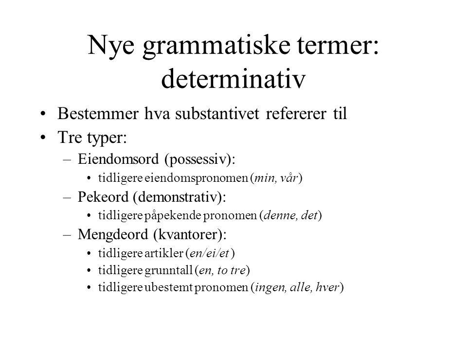 Nye grammatiske termer: determinativ Bestemmer hva substantivet refererer til Tre typer: –Eiendomsord (possessiv): tidligere eiendomspronomen (min, vår) –Pekeord (demonstrativ): tidligere påpekende pronomen (denne, det) –Mengdeord (kvantorer): tidligere artikler (en/ei/et ) tidligere grunntall (en, to tre) tidligere ubestemt pronomen (ingen, alle, hver)