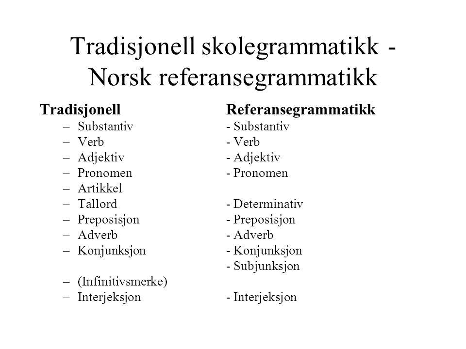 Tradisjonell skolegrammatikk - Norsk referansegrammatikk TradisjonellReferansegrammatikk –Substantiv- Substantiv –Verb- Verb –Adjektiv- Adjektiv –Pron