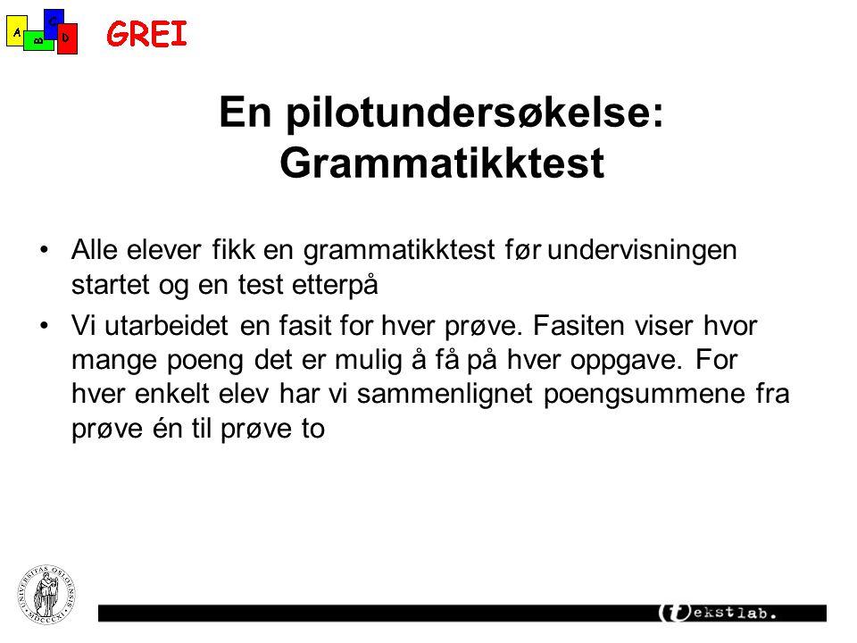 En pilotundersøkelse: Grammatikktest Alle elever fikk en grammatikktest før undervisningen startet og en test etterpå Vi utarbeidet en fasit for hver