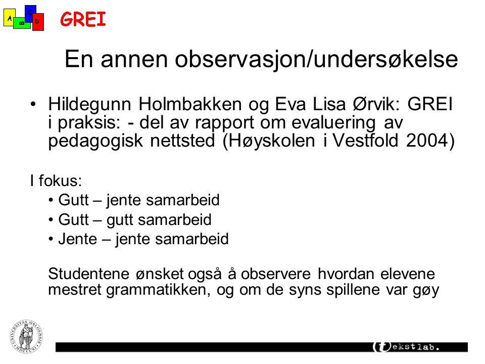En annen observasjon/undersøkelse Hildegunn Holmbakken og Eva Lisa Ørvik: GREI i praksis: - del av rapport om evaluering av pedagogisk nettsted (Høysk