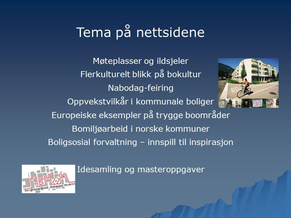 Tema på nettsidene Møteplasser og ildsjeler Flerkulturelt blikk på bokultur Nabodag-feiring Oppvekstvilkår i kommunale boliger Europeiske eksempler på