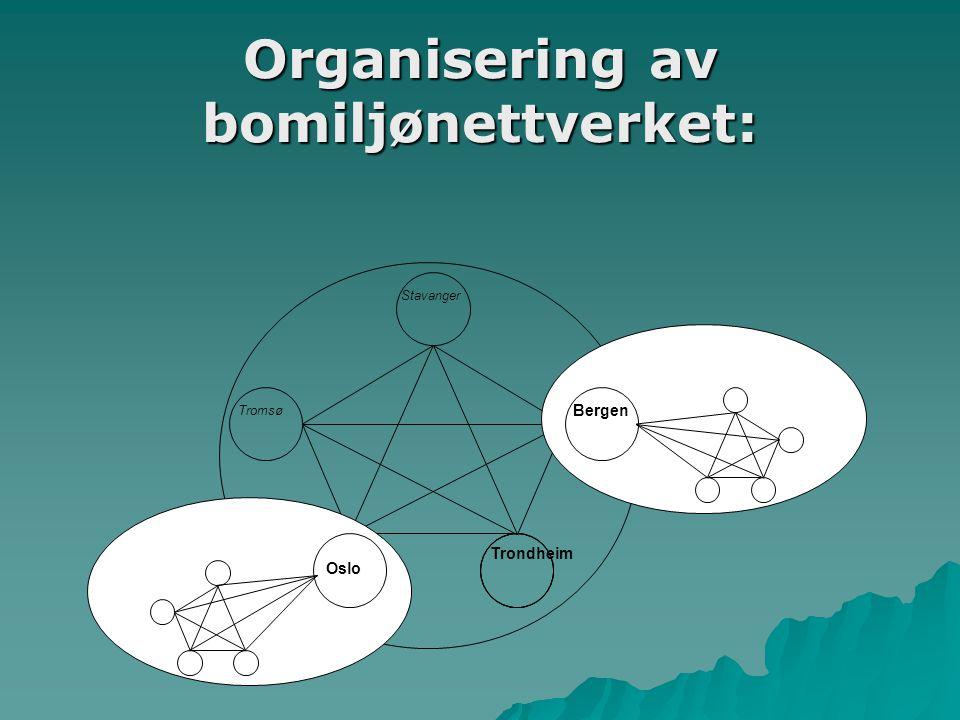 Organisering av bomiljønettverket: Stavanger Bergen Tromsø Trondheim Oslo