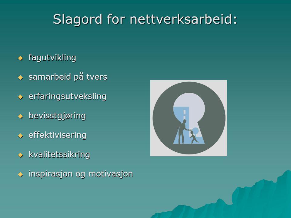 Slagord for nettverksarbeid:  fagutvikling  samarbeid på tvers  erfaringsutveksling  bevisstgjøring  effektivisering  kvalitetssikring  inspira