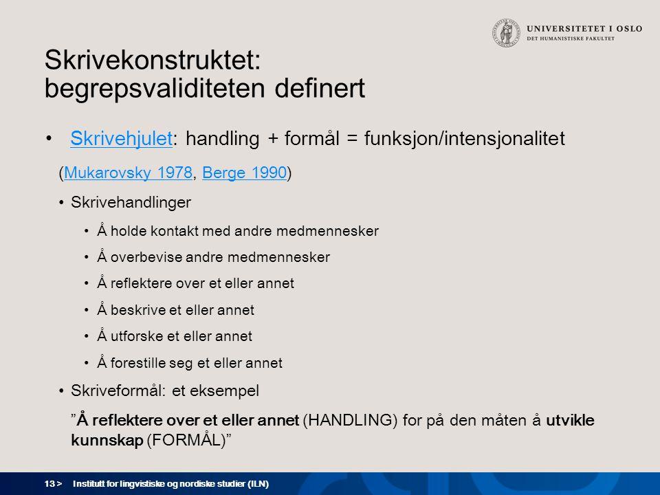 13 > Skrivekonstruktet: begrepsvaliditeten definert Skrivehjulet: handling + formål = funksjon/intensjonalitetSkrivehjulet (Mukarovsky 1978, Berge 199