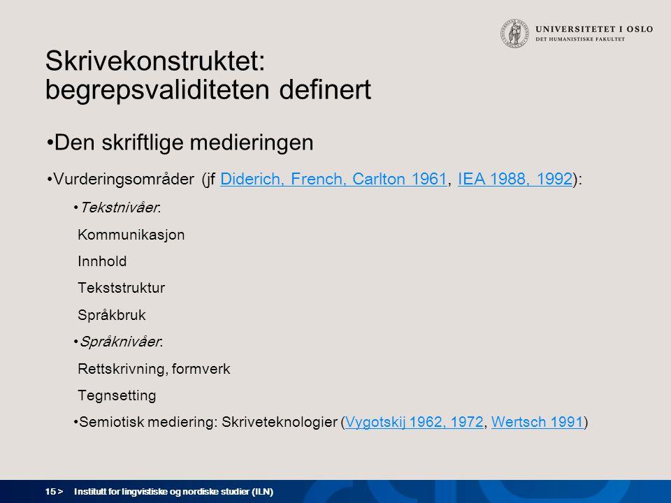 15 > Institutt for lingvistiske og nordiske studier (ILN) Skrivekonstruktet: begrepsvaliditeten definert Den skriftlige medieringen Vurderingsområder