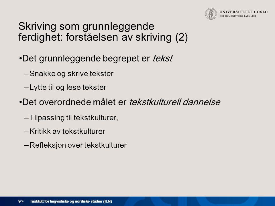 9 > Institutt for lingvistiske og nordiske studier (ILN) Skriving som grunnleggende ferdighet: forståelsen av skriving (2) Det grunnleggende begrepet