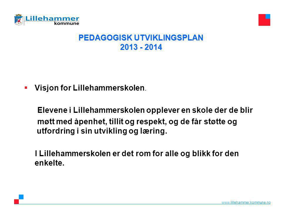 www.lillehammer.kommune.no PEDAGOGISK UTVIKLINGSPLAN 2013 - 2014  Visjon for Lillehammerskolen.