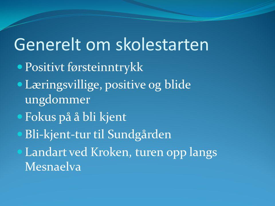 Generelt om skolestarten Positivt førsteinntrykk Læringsvillige, positive og blide ungdommer Fokus på å bli kjent Bli-kjent-tur til Sundgården Landart